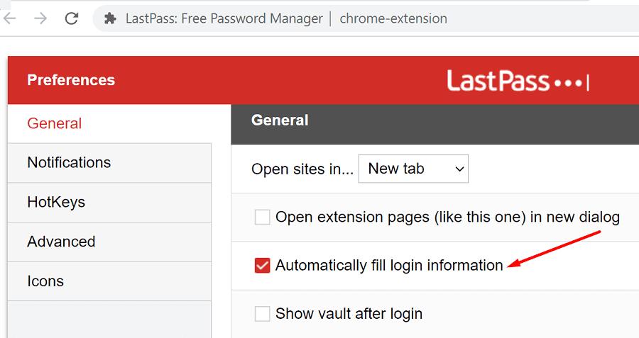 lastpass completa automáticamente la información de inicio de sesión