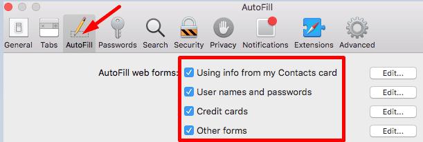 Safari desactiva la configuración de autocompletar