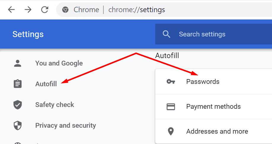contraseñas de Chrome autocompletadas