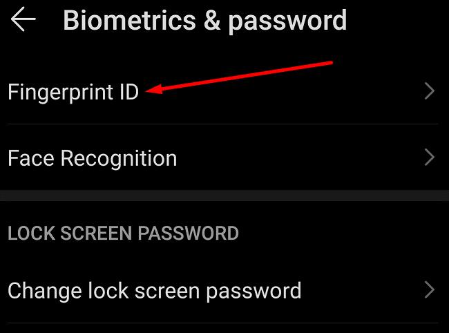 Configuración biométrica y de huellas dactilares Android