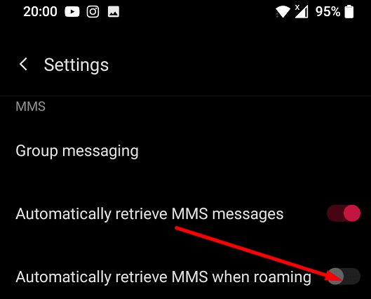 oneplus llama a MMS cuando está en roaming
