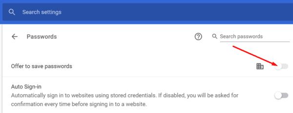 Oferta de desactivación de Chrome para guardar contraseñas