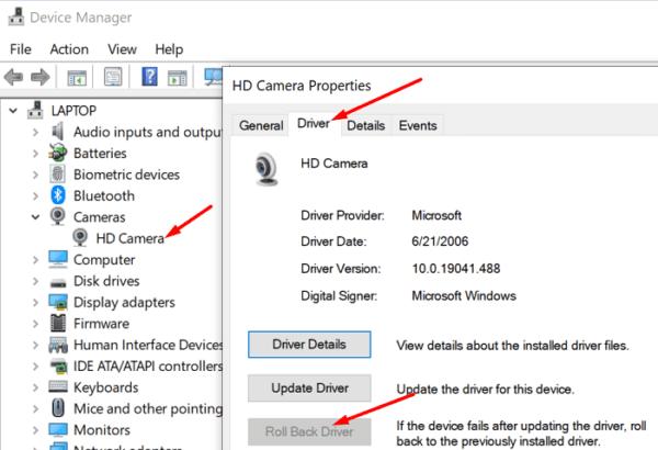 Restablecer la ventana del controlador de la cámara 10