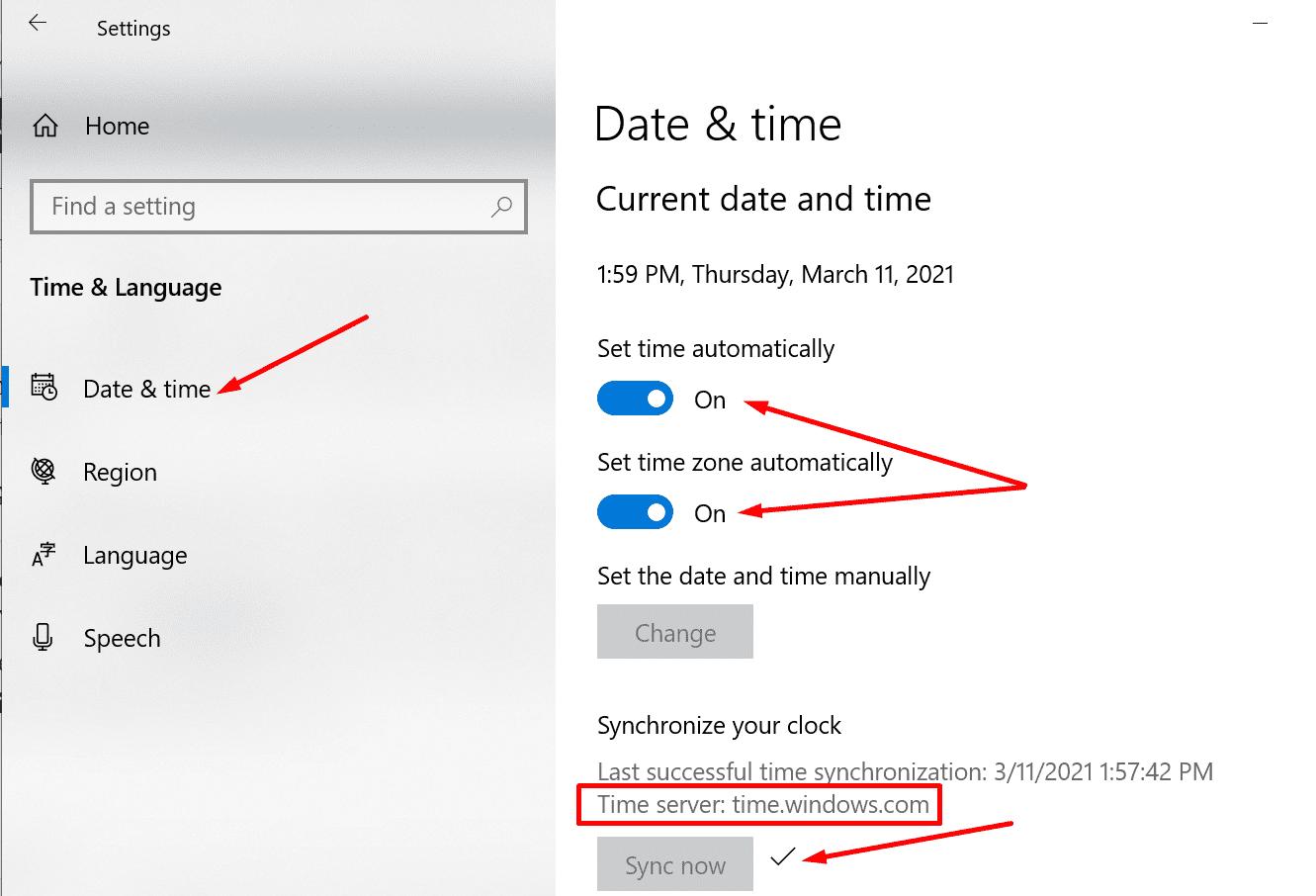 Servidor de hora de sincronización de configuración de fecha y hora