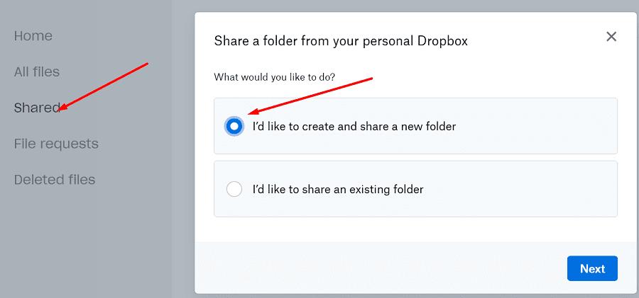 Dropbox crea y comparte una nueva carpeta