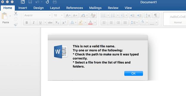 Office 365: el nombre del archivo no es válido al guardar