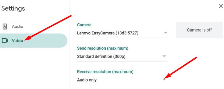 Resolución obtener la configuración de Google Meet