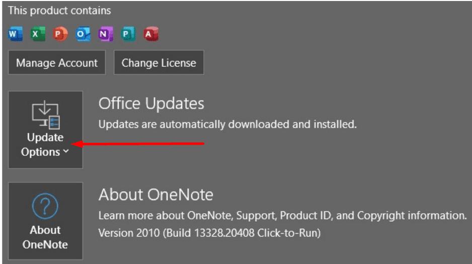 actualizaciones de la oficina de onenote