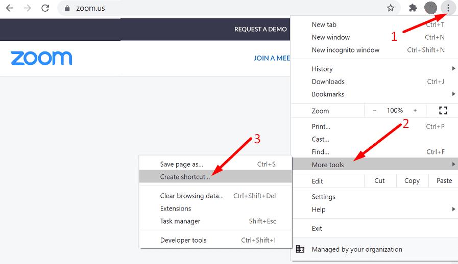 Crear acceso directo al sitio web de zoom chrome
