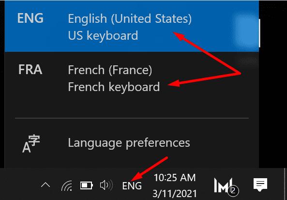 Configuración de idioma del teclado