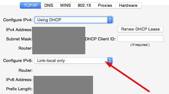 Link-local solo IPv6 macos