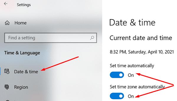 Windows 10 establece la hora y la zona horaria automáticamente
