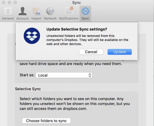 Configuración de sincronización selectiva de actualización de Dropbox