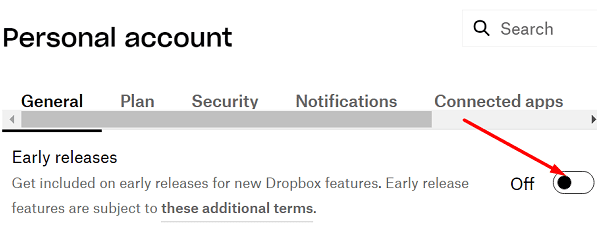 Desactiva las versiones anteriores de Dropbox