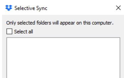 La sincronización selectiva de Dropbox no muestra carpetas