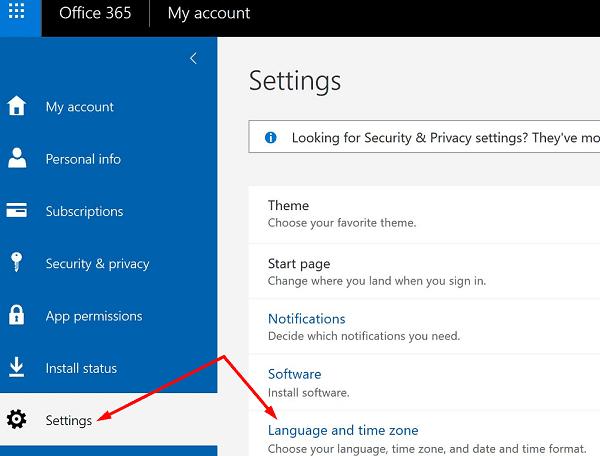 Cambiar la configuración de idioma Microsoft 365