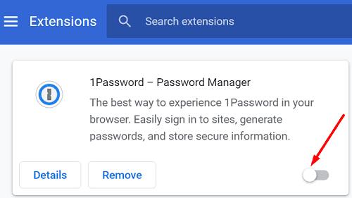 Extensiones de desactivación de Chrome