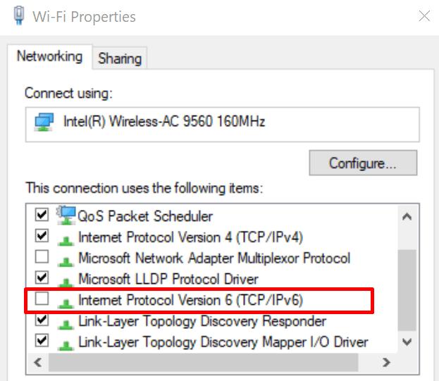 Configuración de Windows 10 IPv6