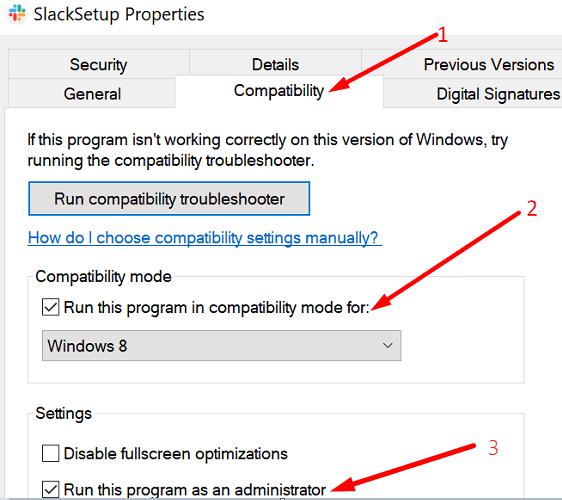 Instalar el administrador del modo de compatibilidad de Slack