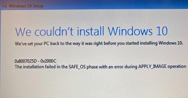 Reparación de Windows 10: la instalación falló en la fase Safe_OS